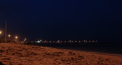 Pier at night (blondinrikard) Tags: travel beach night strand lights pier sand iran playa shore kish persiangulf pir