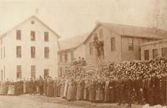 Portage Hosiery Mill w Female Workers & Woodpile