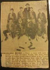 "Richard (""Dickie"") Moore breaks an early record with the Park Ex Royals in the early 1940s. (SHPEHS) Tags: hockey montreal parkextension parcextension dickiemoore peroyals"