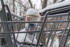 A mcflurry In The Air (fotofrysk) Tags: park snow toronto ontario canada garbage parkinglot drink straw shoppingcart mcflurry 2421 nikond7100 duncanmillsroad bettysutherlandtrailpark