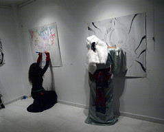 30/1/2016- live drawing session (g.vryttia) Tags: bunny weird mask drawing live athens octopus kimono occult artperformance gvryttia theevasivetwattwan