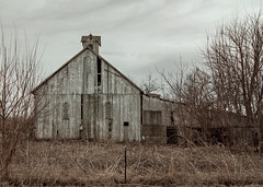 Old Barn on Tolan Road (myoldpostcards) Tags: road winter sky weather architecture barn rural america season illinois cloudy farm farming cupola weathered agriculture tolan outbuilding farmbuilding centralillinois sangamoncounty cathedralwindows myoldpostcards vonliski