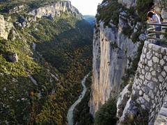 Looking down Gorges du Verdon (loveexploring) Tags: autumn cliff france forest river landscape person lookout canyon autumncolours limestone gorge gorgesduverdon verdongorge
