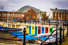 North Berwick Boats and Doors (Cherry Becwell) Tags: houses lines contrast digital canon boats photography eos scotland doors colours hill north vivid east amateur berwick lothian 1100d