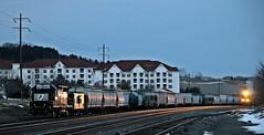 Headlights of 65K... (Conrail1978) Tags: railroad sunset train dark pc ns norfolk central engine loco headlights caboose southern pa penn hershey sou cr unit conrail 1073 emd gp382 5661 21267 sd70ace 65k