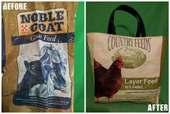 Recycled 50lb Feed Sacks into Shopping Bag (irecyclart) Tags: shopping bag feed sack tote upcycled