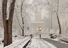 Morning Storm (KaDeWeGirl) Tags: newyorkcity winter snow storm clock monument centralpark manhattan midtown sherman grandarmyplaza confounding dorisfreedmanplaza alicjakwade againsttherun