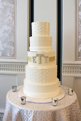 Buttercream Wedding Cake at Four Seasons with Monogram