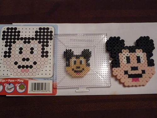 Mickey Pattern With Regular Perler Beads And With Perler Mini Beads Inspiration Mini Perler Bead Patterns