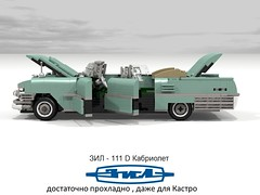 ZiL-111 D Cabriolet (1963) (lego911) Tags: auto classic car model russia yacht render cuba convertible castro soviet land 111 1960s build zil challenge v8 cad lugnuts ussr 1963 cabriolet povray moc ldd miniland 99th lgeo 111d zil111 lego911 zil111d