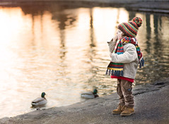 feed the ducks? (windermereimages1) Tags: park morning winter lake cold cute beautiful sunrise bread fun walks frost child ducks eat innocence scarfs woolies
