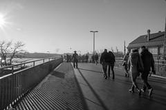B&W Hamburg (anjakundrat) Tags: street city blue light shadow sky people bw sun reflection water mystery port keys boats ships lightfight