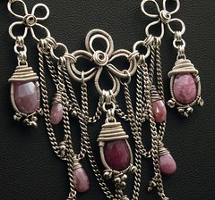 Karens Neck Closeup (MaryTucker) Tags: pink silver necklace wire mary fine wrapped jewelry elements wired sterling tucker mystic sapphire bidral wireowrk