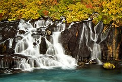 Hraunfossar (loveexploring) Tags: longexposure autumn cloud fall river landscape lava waterfall iceland falls shrub hraunfossar hvita autumncolour westiceland