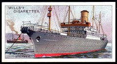 Cigarette Card - Cable Layer Dominia (cigcardpix) Tags: vintage advertising ships ephemera maritime cigarettecards