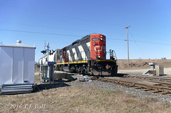 CN 4136 (Ramblings From The 4th Concession) Tags: freighttrains cnrail emdlocomotives gp9rm pariswest parisont cn4136 cndundassub panasonicfz1000