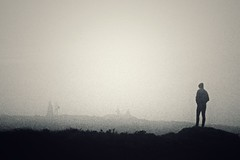 Divis Mountain. (sproulecharly) Tags: ireland shadow white mist mountain black monochrome dark hills mysterious brooding figures depth