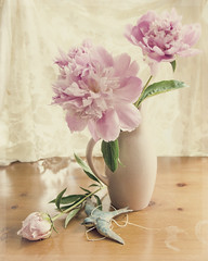 Peonies Still Life (ljohn50014) Tags: flowers nature petals lace pottery layers bluebird peonies filteredlight stilllifeart