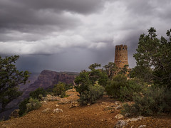Storm  and Watchtower -Desert View Grand Canyon - Arizona (Ennio Fratini) Tags: travel usa cloud storm weather grandcanyon olympus viajes northamerica omd 2014 em1 32bit travelphotography mirrorless micro43 blendingexposures luminositymasks lumenzia olympusm1240mmf28
