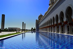 Pillars of faith (RSK.2016) Tags: city travel blue urban white water wall architecture landscape photography gold golden design daylight day outdoor faith uae places bluesky mosque explore abudhabi experience dome walls pillars speakers nikond3200 sheikhzayedmosque