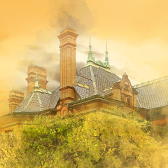 Chimneys (lensletter) Tags: chimney house architecture photomanipulation photoshop smoke landmark historical chimneys 1899 qualitystructuresppf lensletter enteredinsyb