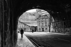 Silhouette (Duncan212) Tags: road street light shadow people blackandwhite bw silhouette blackwhite edinburgh shadows streetphotography tunnel kingsstablesroad