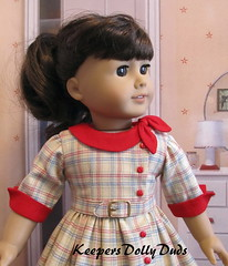 Close up of View B  KDD-21 Side Tie Collar Dress pattern (Keepersdollyduds) Tags: belt doll dress buttons clothes cotton 1950s frock 18 plaid buckle cuffs maryellen keepers americangirldoll keepersdollyduds sidetiecollar