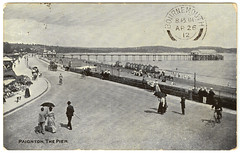 Paignton - The Pier (pepandtim) Tags: road old cliff downs pier early baker postcard mother cliffs stephen nostalgia nostalgic write 1912 torquay pearce bournemouth derby holstein paignton germans babbacombe photochrom knollsea 33ptp77 26041912