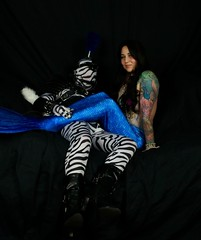 Mermaid and a Zebra Pony (AgentDrow) Tags: mermaid plume zentai ponyplay monstergirl