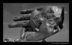 Bouddha's Hand, Dinard, France (Marc Funkleder Photography) Tags: china blackandwhite bw sculpture abstract france architecture bronze nikon surrealism chinese tibet surealist bigbrother chinois chine dinard abstrait zhanghuan d300 2470mm28 nikond300