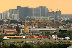The Grand Palace on H.M. the King's Birthday (Rotationism) Tags: birthday old city travel blue light sky people building tower history tourism festival skyline architecture night work landscape thailand religious temple gold golden ancient asia king day cityscape place 5 bangkok buddha buddhist traditional famous father religion culture royal buddhism grand landmark palace thai wat emerald