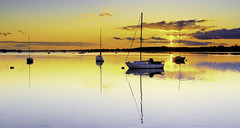 Thorney Island Reflections (Solent Poster) Tags: uk sunset west green yellow landscape boats island sussex golden pentax hampshire april yachts k3 2016 emsworth thorney seascap 1685mm