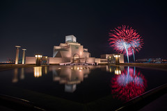 The Museum of Islamic Art - Doha, Qatar (Ashraf Khunduqji) Tags: camera city longexposure reflection art water museum night lens landscape photography prime nikon fireworks nikkor islamic doha qatar 14mm d810