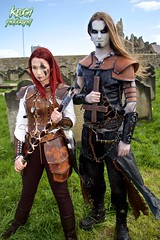 IMG_9402 (Neil Keogh Photography) Tags: red brown white black abbey graveyard leather silver cross gothic goth blouse crucifix axe trousers warrior facepaint viking armour gravestones waistcoat steampunk whitbyabbey whitbygothweekend armguards shoulderguards april2016