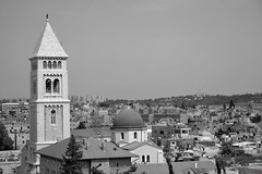 Roofs in Jerusalem (David K. Marti) Tags: street city houses windows light shadow sky urban bw sun sunlight white black church architecture facade buildings outside outdoors israel daylight blackwhite day cityscape exterior outdoor jerusalem structure architectural east roofs middle structural