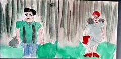 ja, sie waren am Waldrand angekommen und ja, sie trug eine rote Mtze. Aber musste sie deshalb alle Anzglichkeiten klaglos ber sich ergehen lassen (raumoberbayern) Tags: summer bus pencil subway munich mnchen sketch drawing sommer tram sketchbook heat ubahn draw bleistift robbbilder skizzenbuch zeichung