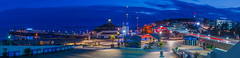 Bournemouth Pier and BIC at dusk (rehanzia) Tags: blue sea panorama cars clouds zeiss lights pier saturated long exposure dusk awesome bournemouth hdr bic stiched hyperreal a7r a7rii