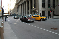 Rush Hour (Flint Foto Factory) Tags: city morning urban white chicago motion classic chevrolet metal sedan moving illinois am spring gm downtown loop top burgundy district painted platform jackson malibu chevy april lasalle intersection rushhour friday financial 1979 icm abody generalmotors in intermediate 2016 midsize rwd 4door downsized