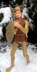 Brave Viking Gregor, in the Snow Covered Forest (atjoe1972) Tags: snow classic forest vintage toys actionfigure battle retro knights sword axe marx brave erik 1960s 1970s custom viking seventies sixties gregor norsemen 12inch norse kitbash johnnywest magicdonkey 16scale atjoe1972