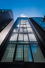Quarter Mile Development-6 (Philip Gillespie) Tags: street city blue windows sky sun white reflection tower glass up skyline architecture clouds contrast work buildings outside photography scotland office spring edinburgh cityscape angle outdoor wide meadows april series block leading 2016 sequent