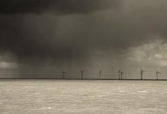 Storm moving in. (pstone646) Tags: sea sky blackandwhite seascape storm nature monochrome rain weather kent waves turbines