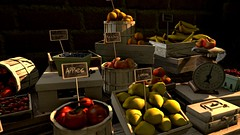 Fruiting (alexandriabrangwin) Tags: world signs money fruit computer square table wooden 3d graphics cherries market stall tags lemons bananas secondlife virtual baskets grapes peaches apples oranges blueberries cgi basilique lockbox alexandriabrangwin