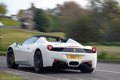 On It (MJParker1804) Tags: white motion spider italia driving convertible ferrari bianco supercar v8 458