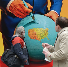 giving it a closer look (mcfcrandall) Tags: people toronto man art painting photography globe looking kingst contactphotographyfestival contact2016 contact16