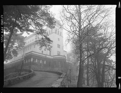 Kulosaari scenery (Emptiness of Helsinki) Tags: blackandwhite house mist castle film fog mediumformat finland photography march seaside spring helsinki architechture 645 oldhouse ilford fp4 mamiya645 120mm selfdeveloped mistyweather