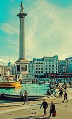 Trafalgar Square View ( Cross Process Effect) (Fujifilm X70 Compact) (markdbaynham) Tags: city uk people london fountain westminster square prime fuji cross famous 28mm capital trafalgar nelson historic gb column process fujinon f28 x70 londoner londonist fujix transx