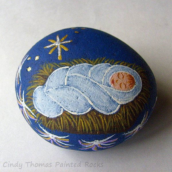 sleeping baby jesus painted rocks by cindy thomas tags christmas nativityscene rockpainting paintedrocks
