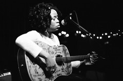 Queen Esther @ The Acoustic Guitar Project,  New York (velocityzen) Tags: street new york blackandwhite music newyork film 50mm guitar voigtlander bessa acoustic r3a bandw f11 nokton agp musian theacousticguitarproject