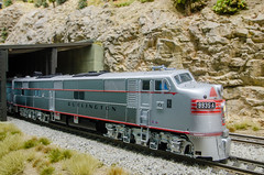 Snow Shed (NAPM Model Railroad Club) Tags: road railroad mountain snow chicago scale electric wisconsin club burlington train layout quincy miniature model scenery track power diesel cab dcc north shed engine first 7 craft rail railway loco rr hobby class prototype american e milwaukee electro locomotive motive passenger ho division 187 e7 firstclass burlingtonroute modelers emd gmd cbq dieselelectric electromotive e7a wayofthezephyrs napm nampltd