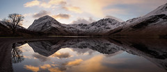 Buttermere at dawn panorama (alf.branch) Tags: lake reflection water clouds landscape lakes lakedistrict olympus buttermere lakesdistrict refelections westcumbria westernlakes